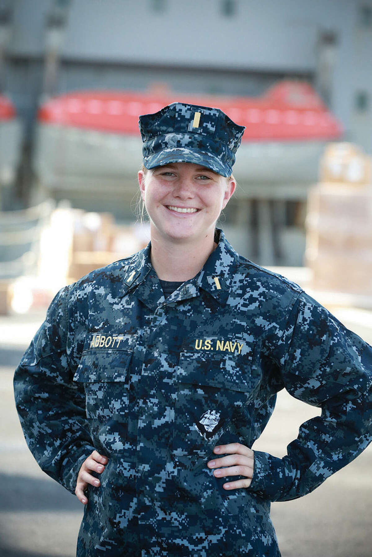 Jennifer Abbott,, a former Wilton High School swimming champ, is now with the U.S. Navy aboard the USSSomerset.