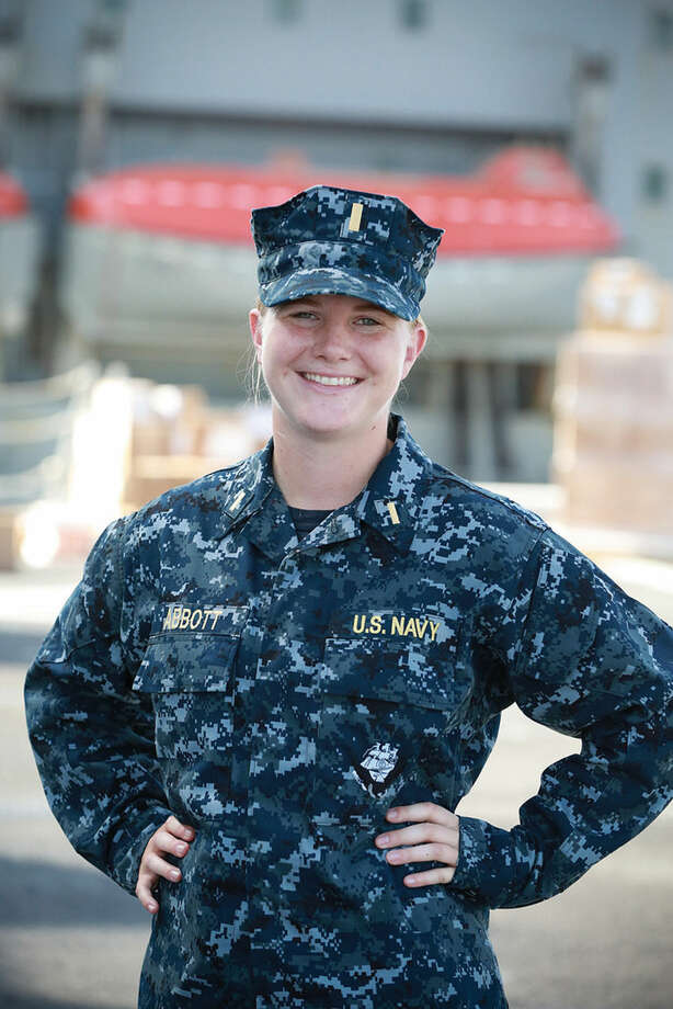 Jennifer Abbott,, a former Wilton High School swimming champ, is now with the U.S. Navy aboard the USS Somerset.