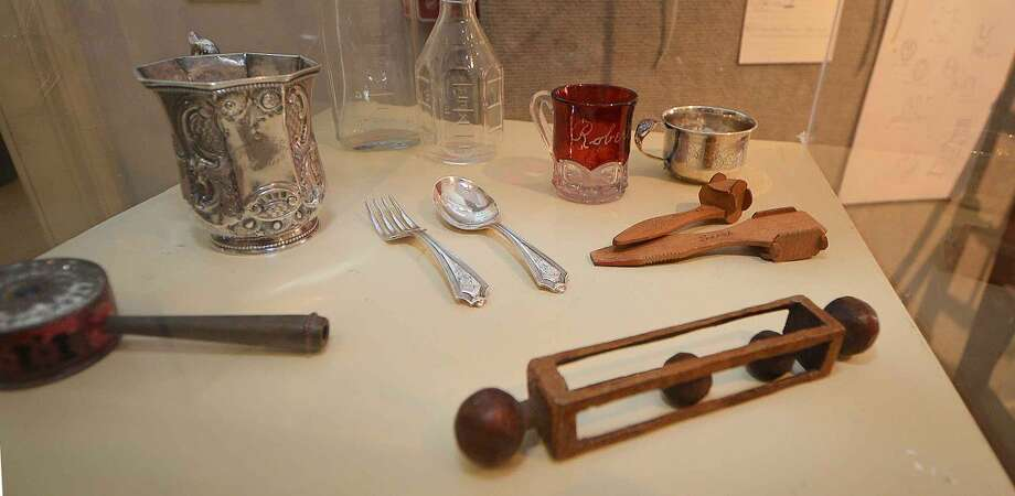 Handmade rattles on display at White Linen and Lace at The Wilton Historical Society.
