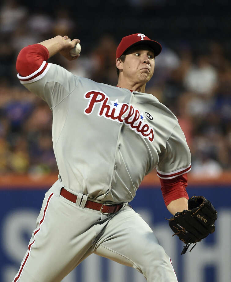 Philadelphia Phillies starter Jerad Eickhoff pitches against the New York Mets in the first inning of a baseball game at Citi Field on Monday, Aug. 31, 2015, in New York. (AP Photo/Kathy Kmonicek)