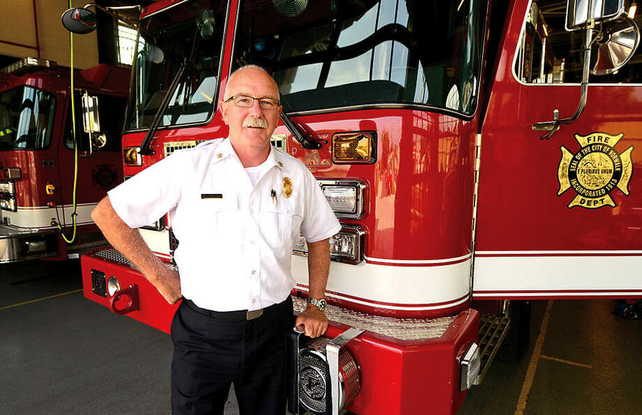 Hour photo / Erik Trautmann Fire Chief Denis M. McCarthy is leaving after 10 years heading the Norwalk Fire Department.