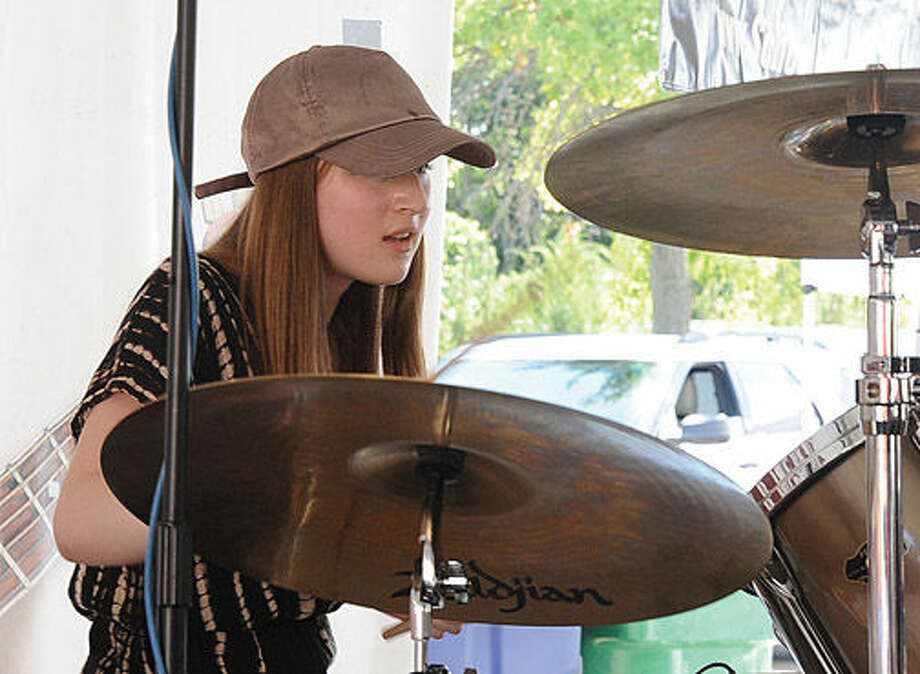 Rebecca Webster School of Rock drummer playing some Steely Dan Sunday at the Blues, Views & BBG festival in Westport. Hour photo/Matthew Vinci