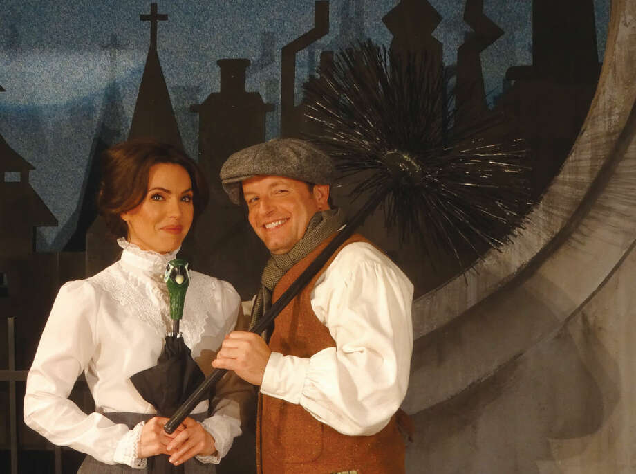 "Taking a break on the set of ""Mary Poppins"" playing in The Kweskin Theatre, Stamford, are Sara Giggar and Larry Gabard as Mary Poppins and Burt, the chimney sweep. The production will play six weekends beginning Sept. 11, and kicks off Curtain Call's 25th anniversary season."