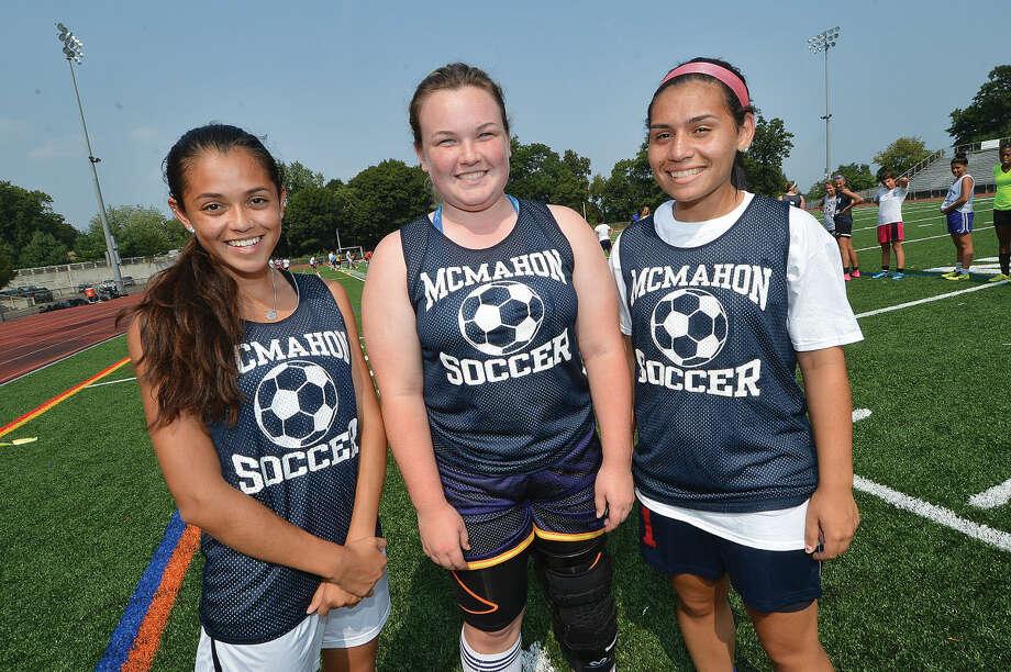 Hour Photo/Alex von Kleydorff Vanessa Giraldo, Danielle Bonis, Olivia Rosado McMahon girls soccer