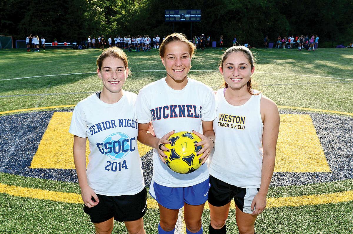 Hour photo / Erik Trautmann Weston High School Girls Soccer team captains, Charlotte Cenatiempo, Ursula Alwang and Andi Rosenblatt.