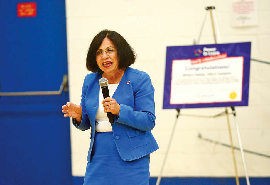"""Hour photo / Erik Trautmann State Senator Toni Boucher speaks at Y's """"Delete Cyberbullying"""" event, sponsored by Cablevision's """"Power to Learn"""" program, Wednesday morning at the Wilton YMCA."""