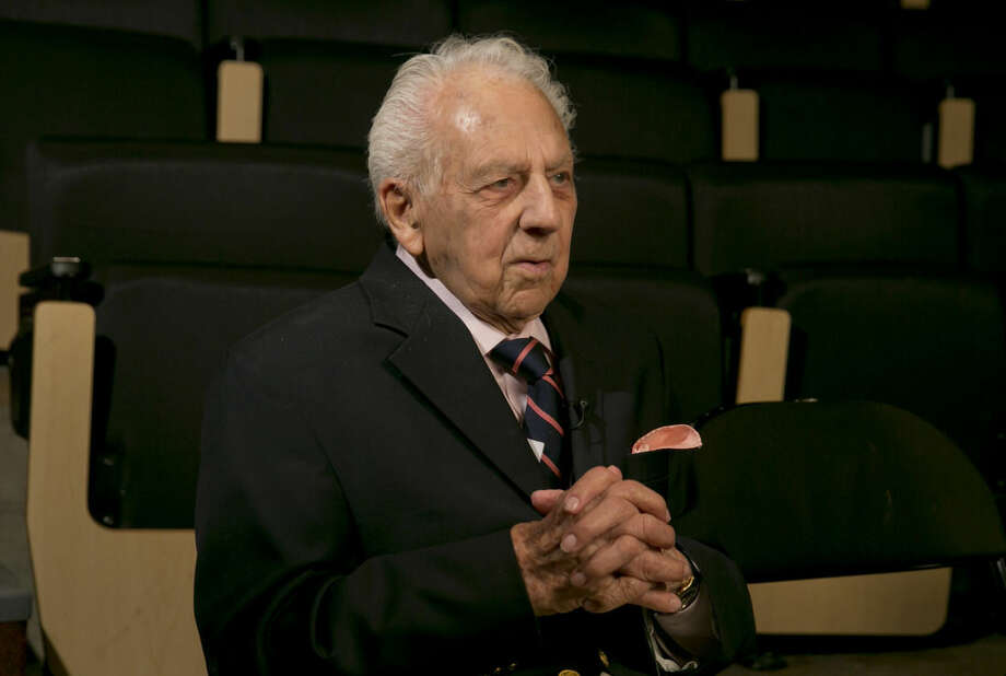 Composer Irving Fields, 99, is interviewed during a rehearsal at the Baruch Performing Arts Center, in New York, Friday, Aug. 8, 2014. (AP Photo/Richard Drew)