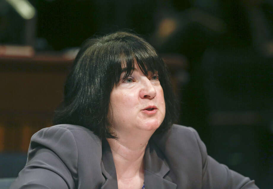Melissa Fleischut, president of the New York State Restaurant Association, speaks during a Senate Standing Committee labor hearing on the Fast Food Wage Board, Thursday, Sept. 10, 2015, in Albany, N.Y. (AP Photo/Mike Groll)