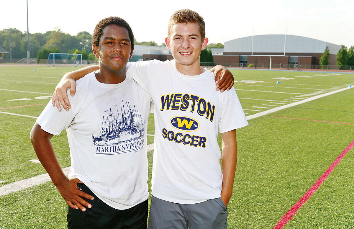 Hour photo / Erik Trautmann Weston High School Boys Soccer team captains, Jordan Ellis and Tyler Dyment.