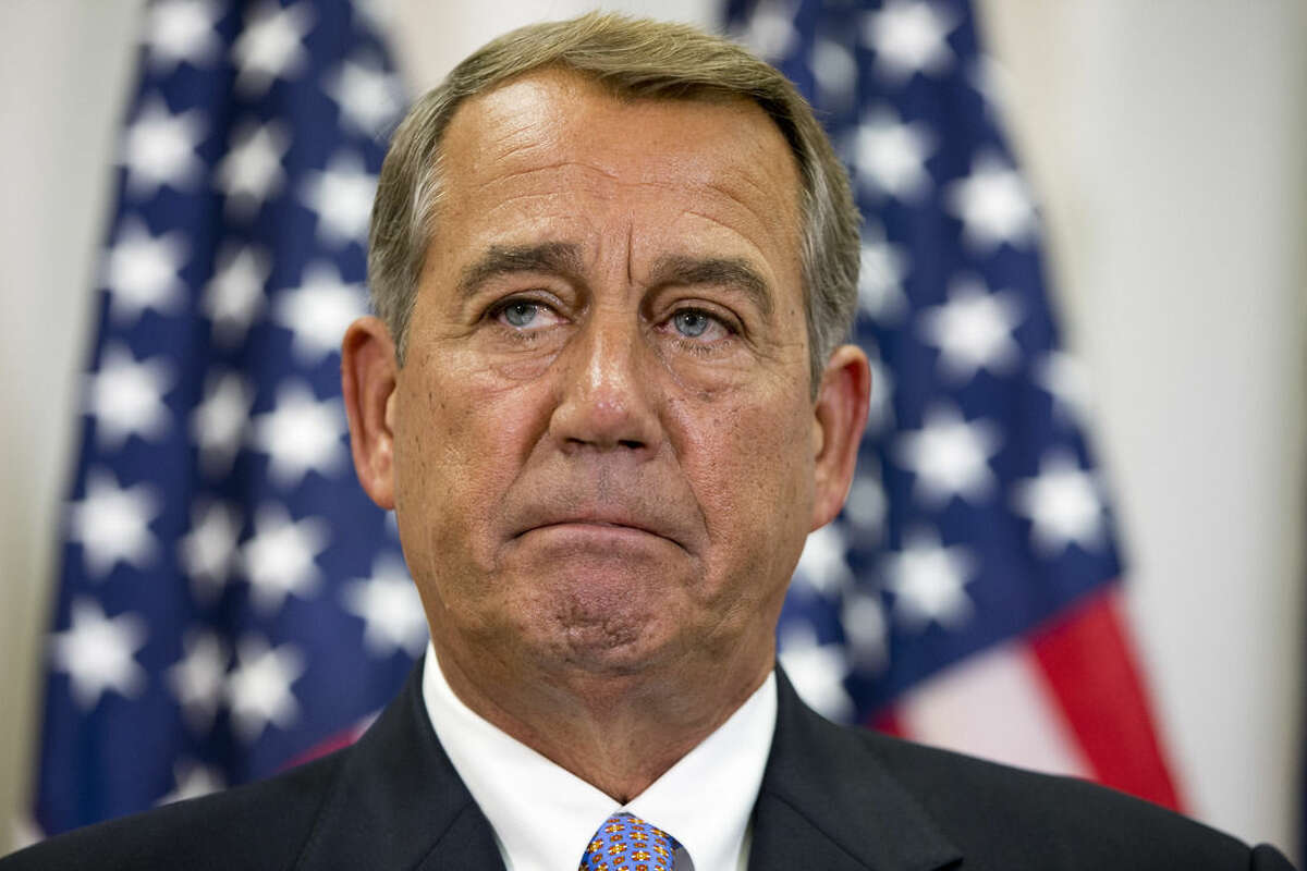 """In this Sept. 9, 2015, photo, Speaker of the House John Boehner of Ohio, pauses while speaking about his opposition to the Iran deal during a news conference with members of the House Republican leadership on Capitol Hill in Washington. Even though opponents of the Iran nuclear deal can't win in Congress, they aren't going to go quietly. """"This debate is far from over, and frankly, it's just beginning,"""" Boehner said on Sept. 10. (AP Photo/Jacquelyn Martin)"""