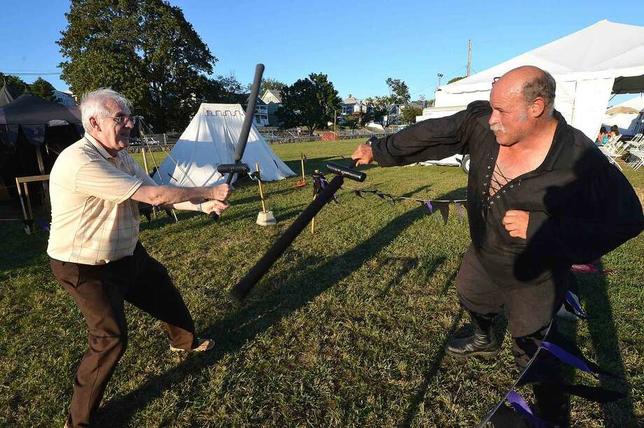 Hour Photo/Alex von Kleydorff Roy Heget battles the Knight, James Lafleur in Fight A Knight at The Oyster Fest