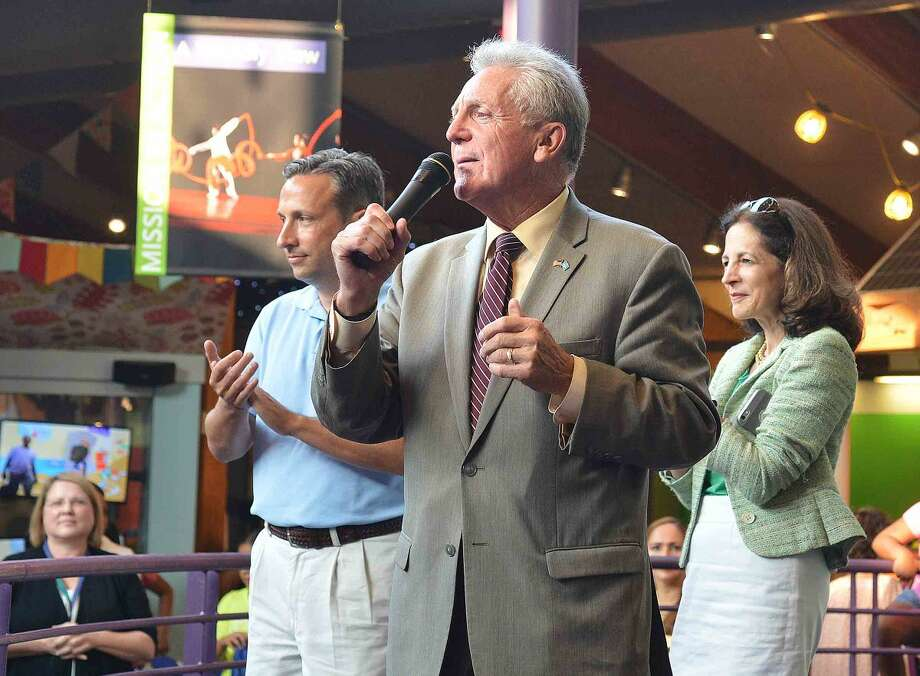 Hour Photo/Alex von Kleydorff Mayor Harry Rilling speaks to the crowd during Back to School night at Stepping Stones Museum for Children