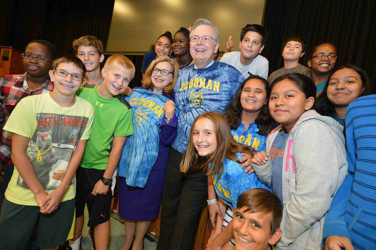 Hour Photo/Alex von Kleydorff Connecticut Commissioner of Education Dr. Dianna Wentzell and Mayor David Martin join students at Cloonan Middle School to celebrate their CFES standing