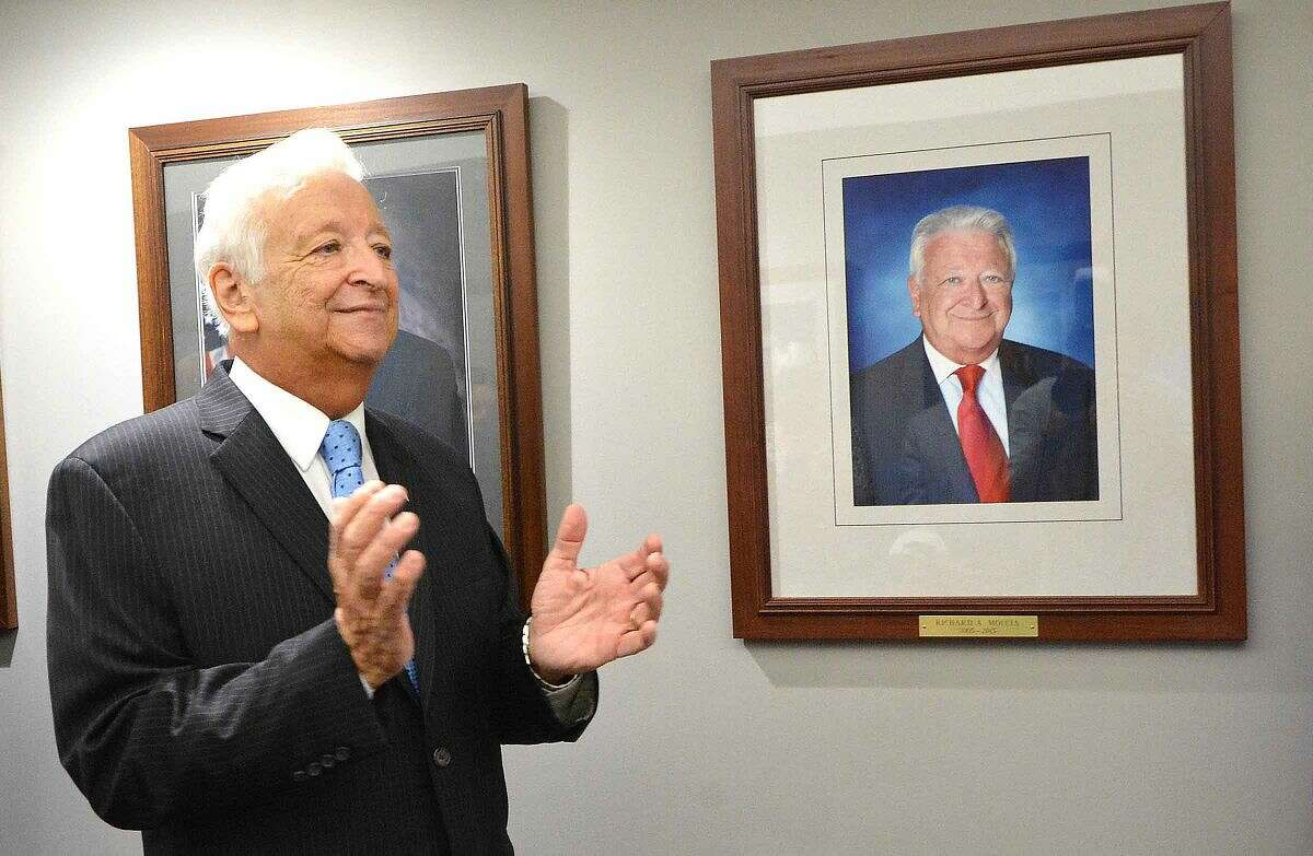 Hour Photo/Alex von Kleydorff Ricard Moccia as his official mayors portrait is unveiled at City Hall