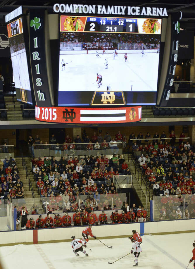 Chicago Blackhawks scrimmage during NHL hockey training camp at the Compton Family Ice Center on the campus of the University of Notre Dame in South Bend, Ind., Friday, Sept. 18, 2015. (AP Photo/Joe Raymond)