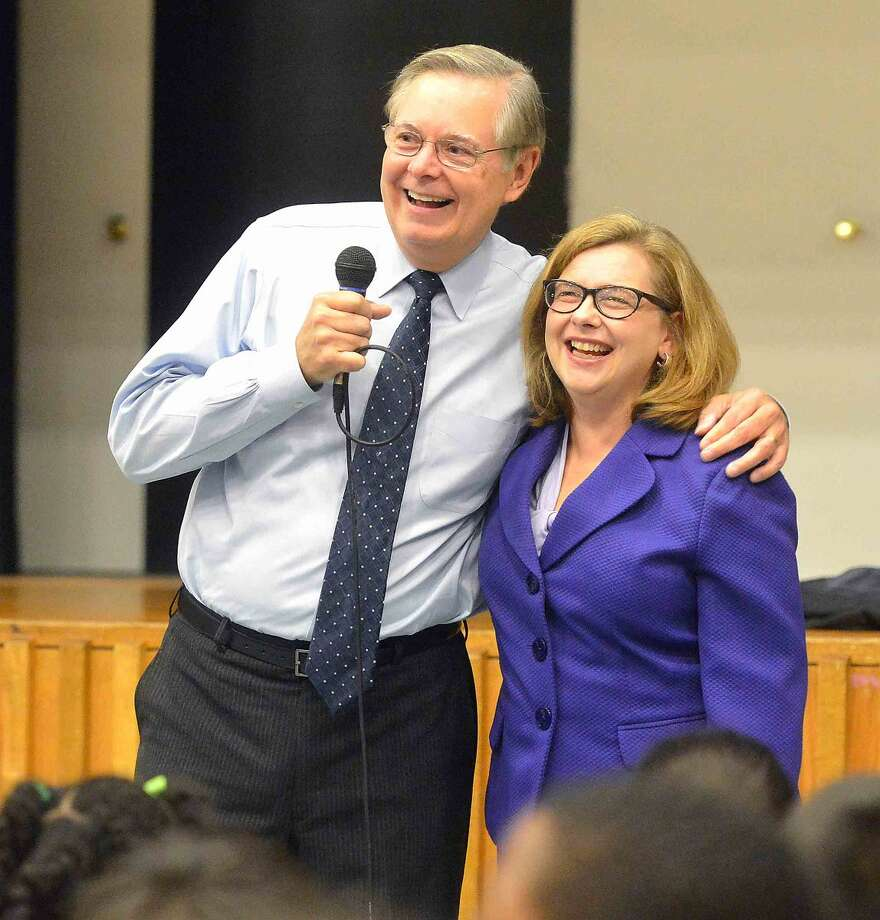 Hour Photo/Alex von Kleydorff Connecticut Commissioner of Education Dr. Dianna Wentzell and Mayor David Martin speak to the students at Cloonan Middle School about Their CFES rating, College for every student.