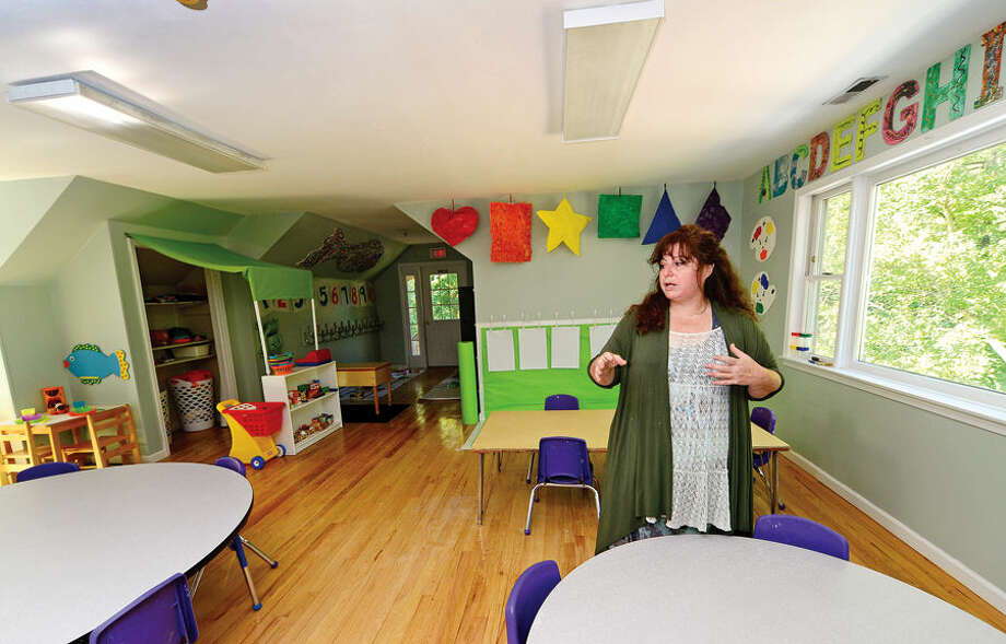 Hour photo / Erik Trautmann Sharon Cowley will open Create Learning Center in Wilton on Sept. 2. It will be an early childhood education center for children ages 19 months to 5 years old. Cowley used to run a daycare at Comstock Community Center.