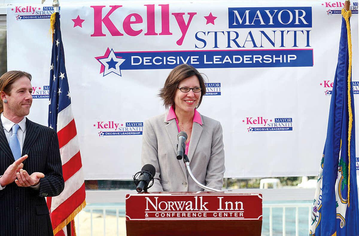 Hour photo / Erik Trautmann Republican Kelly Straniti announces her candidacy for mayor of Norwalk Saturday at the Norwalk Inn.