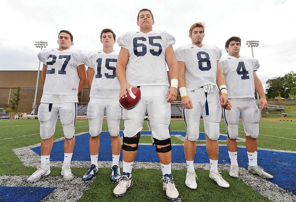 Hour photo / Erik Trautmann Staples High School football captains; Jack Griffin, Ben Thaw, Jackson Ward, Evan Gilland and Connor Adrian.