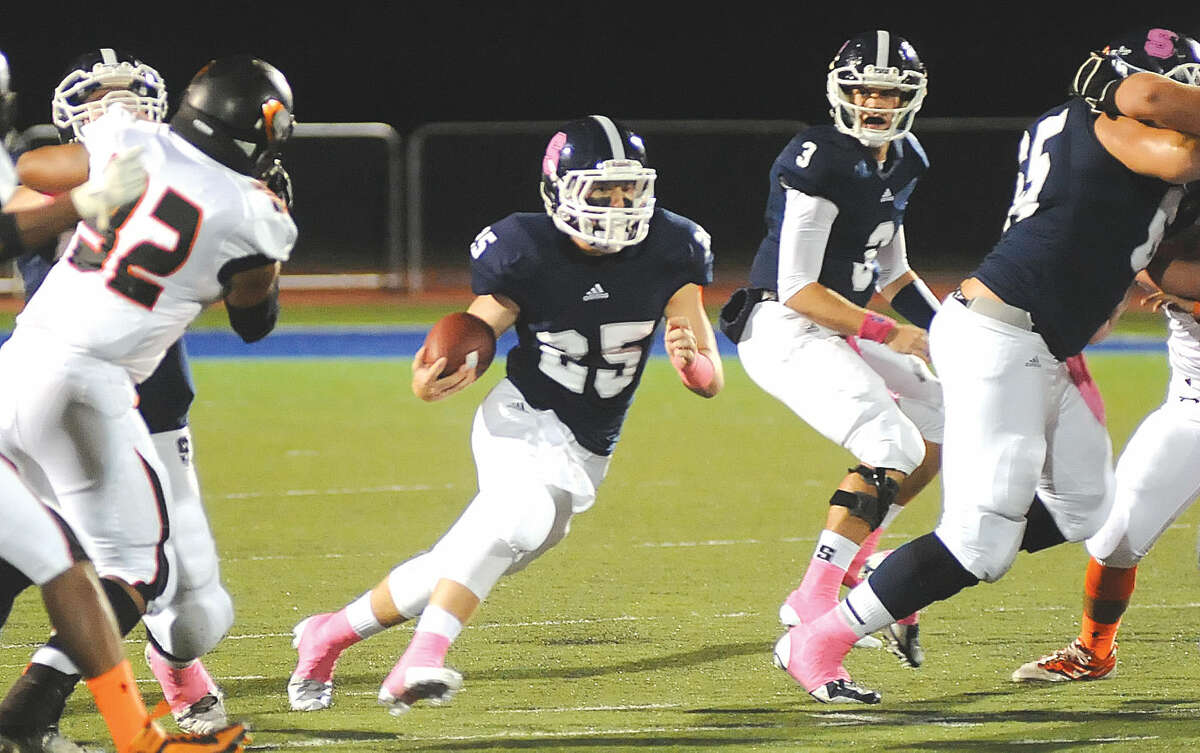 Hour photo/John Nash - Staples High running back Ethan Burger is back for another season, his junior season, in the Wreckers backfield.