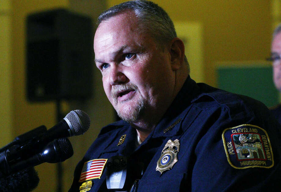 Cleveland Police Chief Charles Bingham discuses in Cleveland, Miss., the apprehension of Delta State University instructor Shannon Lamb as he tried to elude Greenville, Miss., police, late Monday, Sept. 14, 2015. Authorities later said Lamb was reported to have died at a Greenville hospital. Lamb was a suspect in connection with the shooting death of history professor Ethan Schmidt in his office in Cleveland, Miss. (AP Photo/Rogelio V. Solis)
