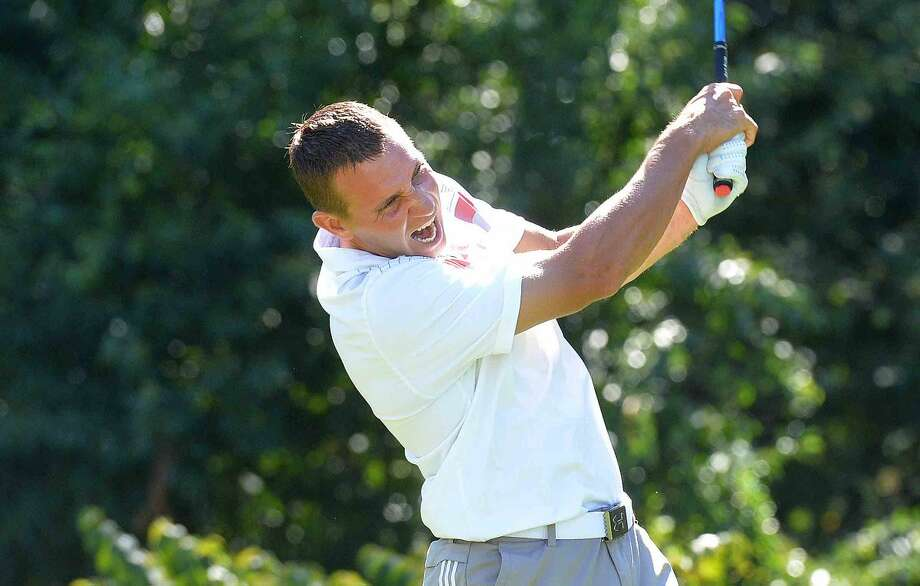 Hour Photo/Alex von Kleydorff TJ Trimboli drives at 1 during the Jerry Courville Sr. Memorial Tournament at Shehaven CC on Tuesday