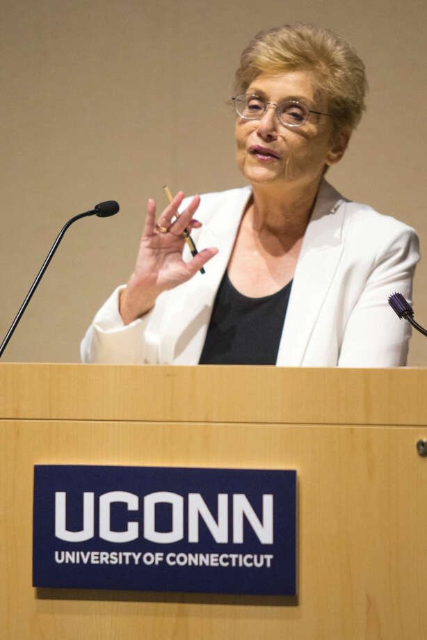 Hour photo/Chris Palermo. Dr. Nehama Aschkenasy, director of the Center for Judaic and Middle Eastern Studies, address factuly and staff at the annual UConn Town Hall Meeting Wednesday morning.