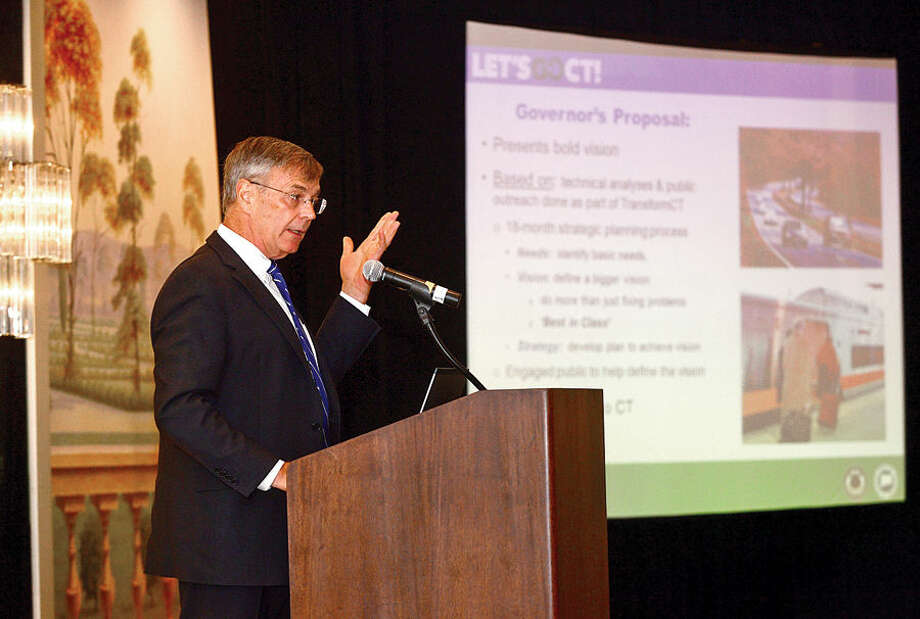 Hour photo / Erik Trautmann Keynote Speaker at a Stamford Chamber of Commerce luncheon at the Stamford marriot Wednesday, Connecticut's Department of Transportation Commissioner, James Redeker, outlines the ambitious, Let's GO CT, a multi-billion dollar, decade-spanning, comprehensive plan that is aimed to revamp Connecticut's roadways and other modes of transportation.