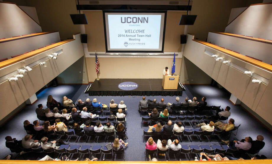 Hour photo/Chris Palermo. Campus Director Sharon White address factuly and staff at the annual UConn Town Hall Meeting Wednesday morning.