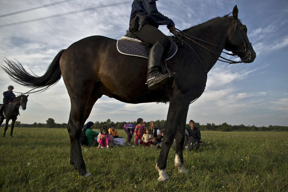 Afghan migrants sit on the ground of a field while being detained by Hungarian police on horses for sneaking through Hungary's border fence with Serbia, in Asotthalom, southern Hungary, Wednesday, Sept. 16, 2015. Small groups of migrants are continuing to sneak into Hungary from Serbia, a day after the country sealed its border and began arresting asylum-seekers trying to breach the new razor-wire barrier. (AP Photo/Muhammed Muheisen)