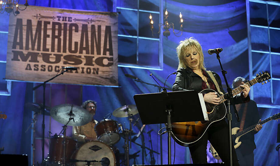 Lucinda Williams performs at the Americana Music Honors and Awards show Wednesday, Sept. 16, 2015, in Nashville, Tenn. (AP Photo/Mark Zaleski)