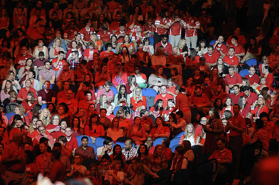 Thousands of Target employees wait for the start of Target's annual meeting in Minneapolis, Wednesday, Sept. 16, 2015. Target announced at the event Wednesday that it plans to open a futuristic store in the next 18 to 24 months that will serve as a laboratory for innovation. (AP Photo/Craig Lassig)