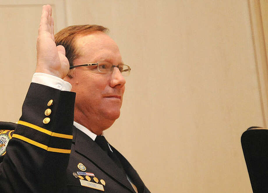 Robert Crosby is officially sworn in as chief of Wilton police.