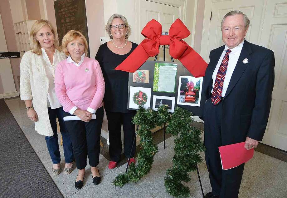 Wilton business owners Ann Nash, Nancy Saxe and Peg Koellmer join First Selectman Bill Brennan at Town Hall to kick off the Wilton Holiday Fund.