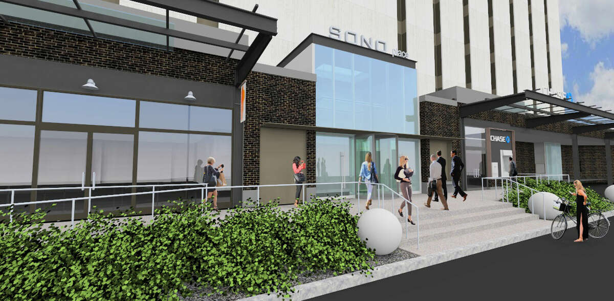 Rendering for back of 50 Washington, SoNo Place.