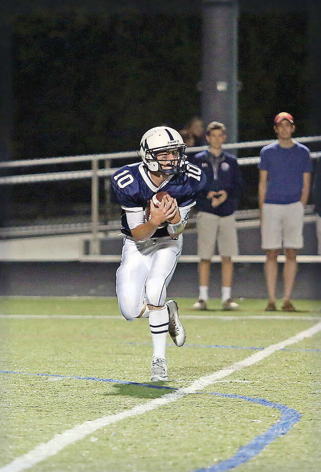Wilton's #10, Matt D'elisa, catches the ball during a game against Staples at Fujitani Field Friday evening. Hour Photo / Danielle Calloway