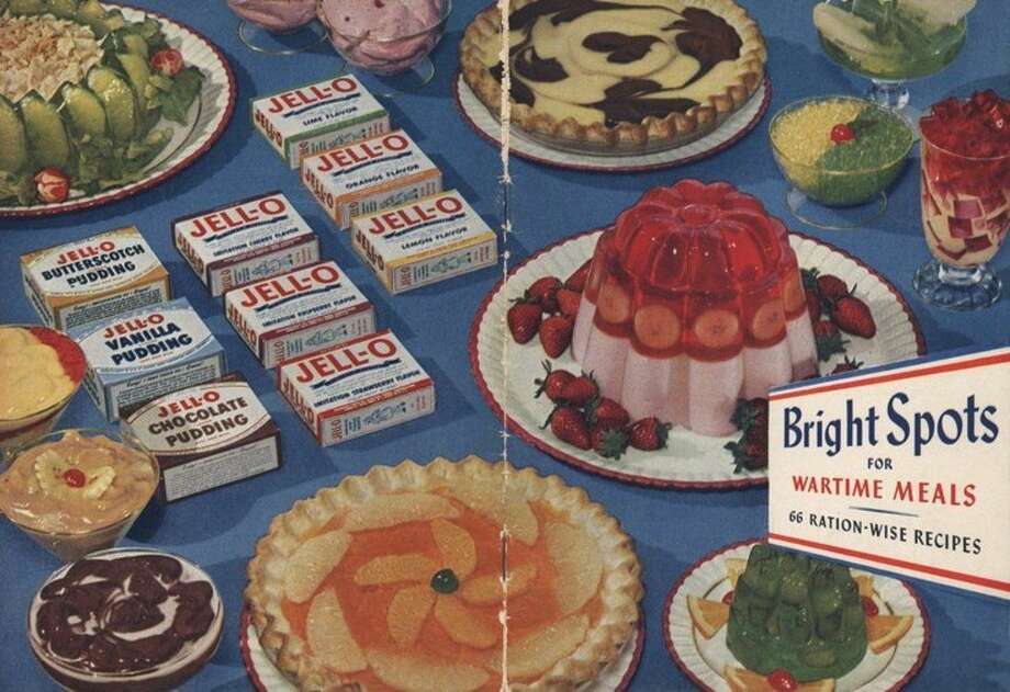 "This image provided by Kraft Foods shows the cover of ""Bright Spots for Wartime Meals,"" a Jell-O recipe book published by General Foods in 1944. Despite its enduring place in pop culture, Jell-O sales have tumbled 19 percent from five years ago, with alternatives such as Greek yogurt surging in popularity. (AP Photo/Kraft Foods)"