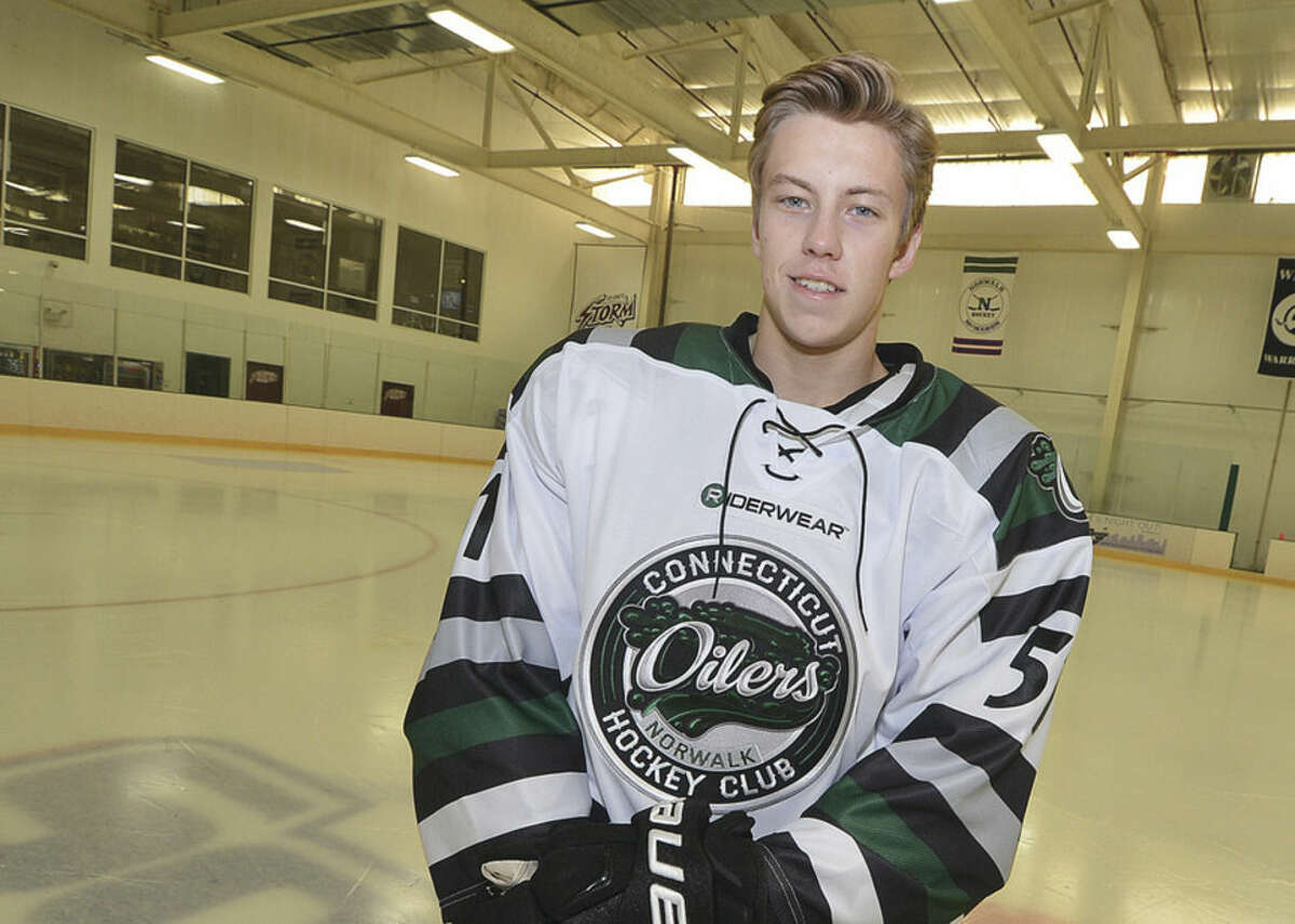 Hour Photo/Alex von Kleydorff Oilers forward Paul McAvoy grew up in Kentucky and left home at 13 to further his hockey career. His journey has brought him to Norwalk, where he will suit up for the Oilers next season.