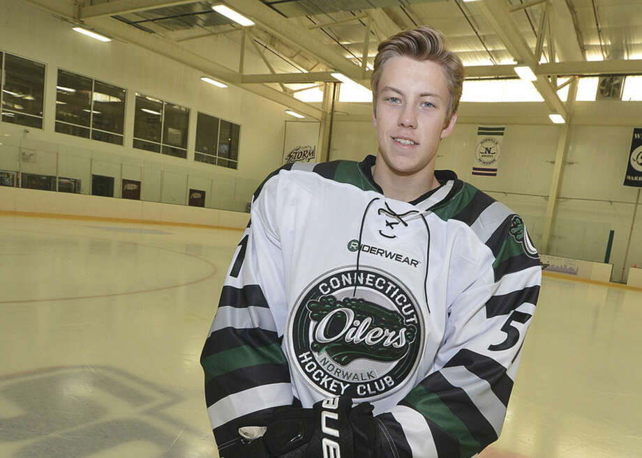 Hour Photo/Alex von KleydorffOilers forward Paul McAvoy grew up in Kentucky and left home at 13 to further his hockey career. His journey has brought him to Norwalk, where he will suit up for the Oilers next season.