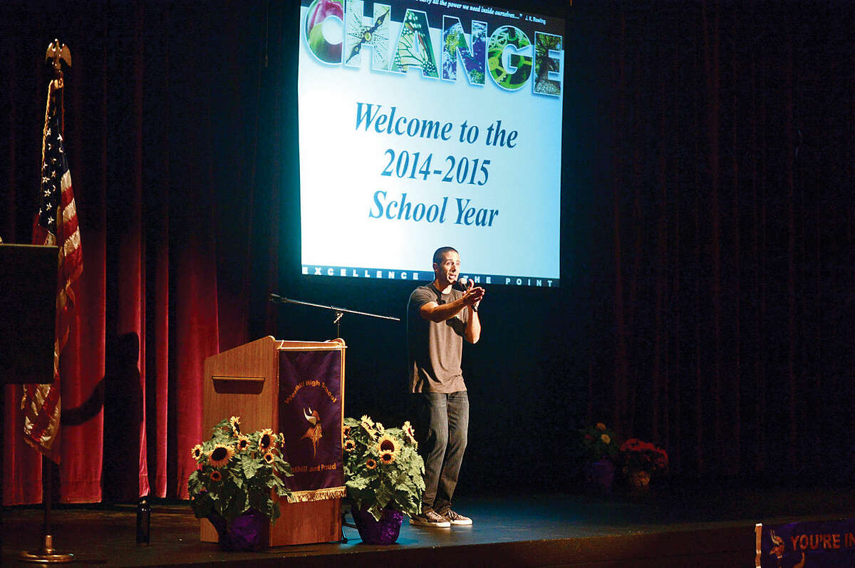 Stamford Teacher of the Year and keynote speaker, Jimmy Sapia, remarks for the new school year during the Stamford Public Schools teacher convocation at Westhill High School.