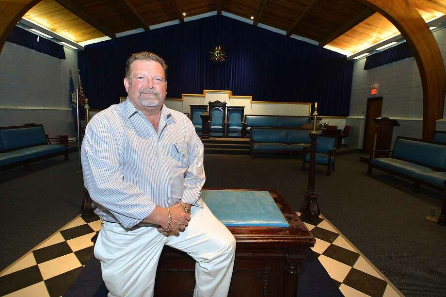 Hour Photo/Alex von Kleydorff Lodge Marshall Jim Hutchinson in the Old Well St. Johns #6 Masonic Lodge on Gregory Blvd in Norwalk