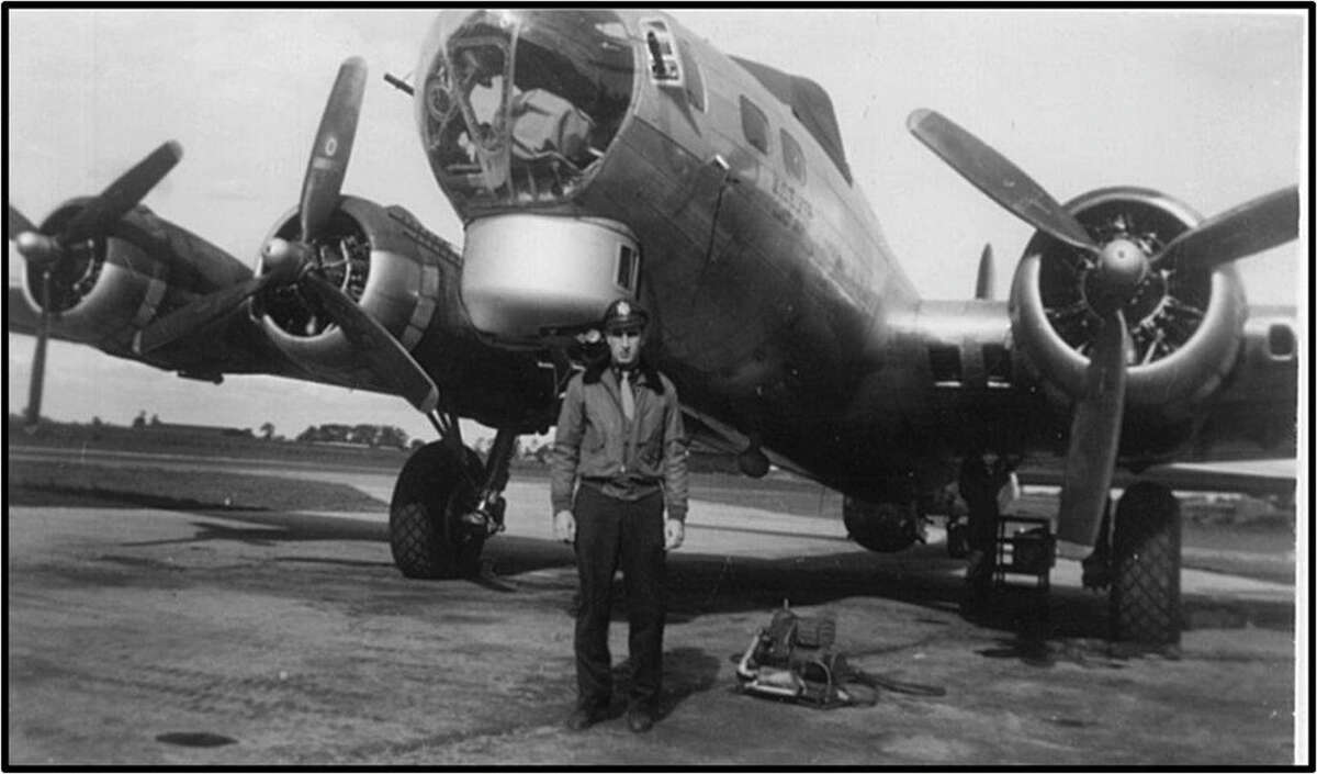 U.S. Air Force veteran Charles M. Baffo of Wilton is pictured here standing in front of the B-17 Flying Fortress he flew during World War II. State Reps. Gail Lavielle and Tom O'Dea have introduced legislation that would name a stretch of Route 106 for Baffo.