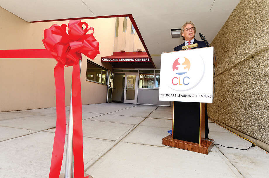 Childcare Learning Centers (CLC) CEO Mark Jaffe welcomes guests as CLC marks the opening of its eighth Stamford location, the Lockwood Wing, with a ribbon-cutting ceremony at the new site on Lockwood Avenue.