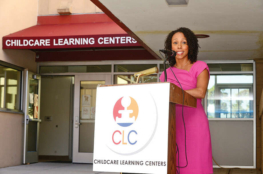 Connecticut Office of Early Childhood Commissioner of Education Dr. Myra Joes-Taylor speaks as Childcare Learning Centers (CLC) marks the opening of its eighth Stamford location, the Lockwood Wing, with a ribbon-cutting ceremony at the new site on Lockwood Avenue in Stamford.