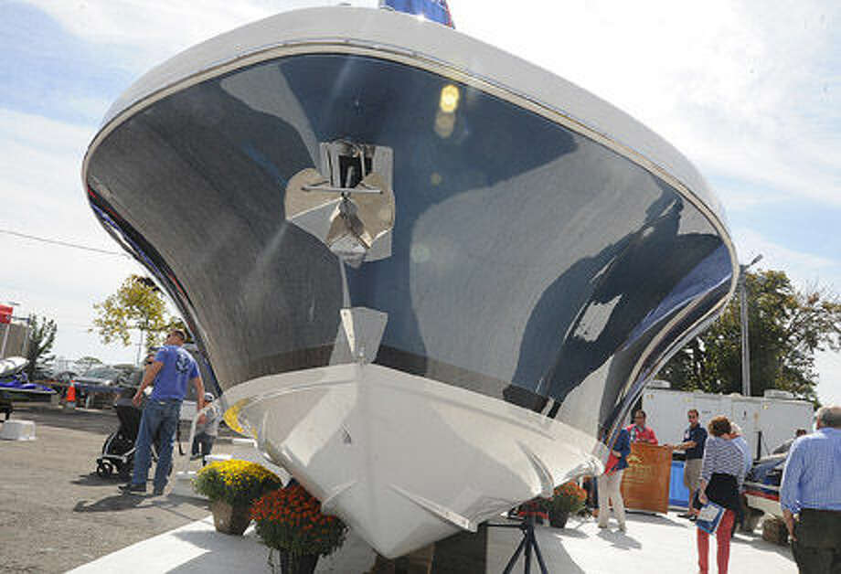 People out Saturday afternoon enjoying the Norwalk Boat Show at the Norwalk Cove Marina. Hour photo/Matthew Vinci