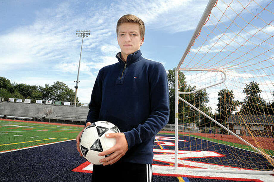 Brien mcMahon soccer player Niko Petridis, has verbally committed to attend UConn for boys soccer. Hour photo/Matthew Vinci