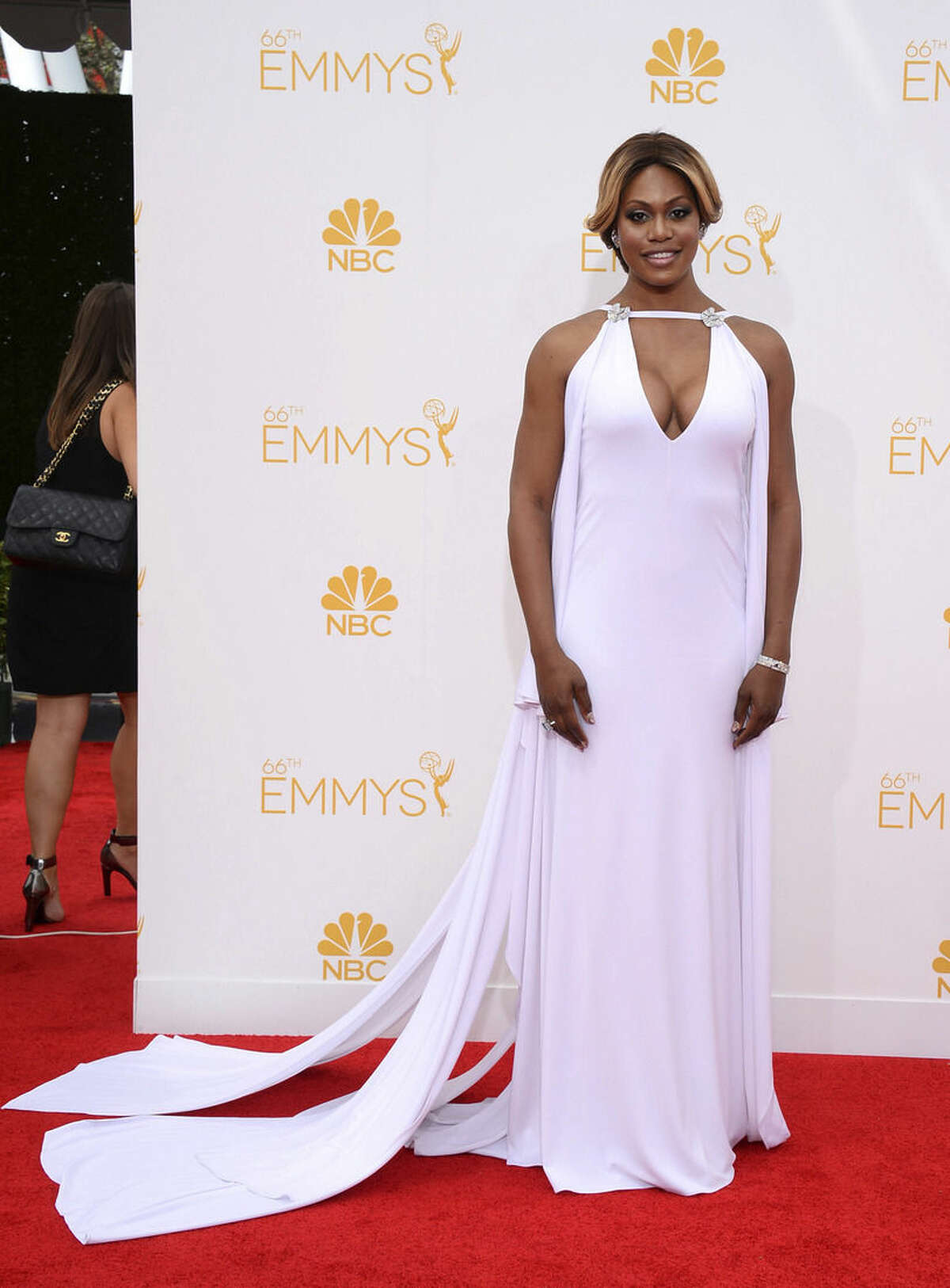 Laverne Cox arrives at the 66th Annual Primetime Emmy Awards at the Nokia Theatre L.A. Live on Monday, Aug. 25, 2014, in Los Angeles. (Photo by Jordan Strauss/Invision/AP)