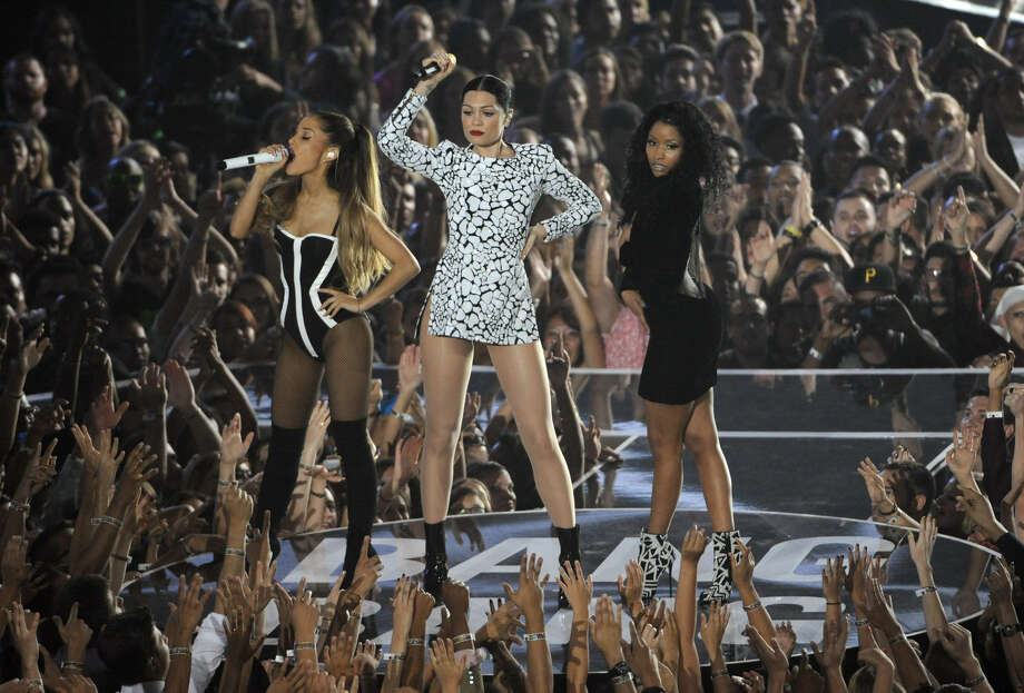 Ariana Grande, from left, Jessie J and Nicki Minaj perform at the MTV Video Music Awards at The Forum on Sunday, Aug. 24, 2014, in Inglewood, Calif. (Photo by Chris Pizzello/Invision/AP)