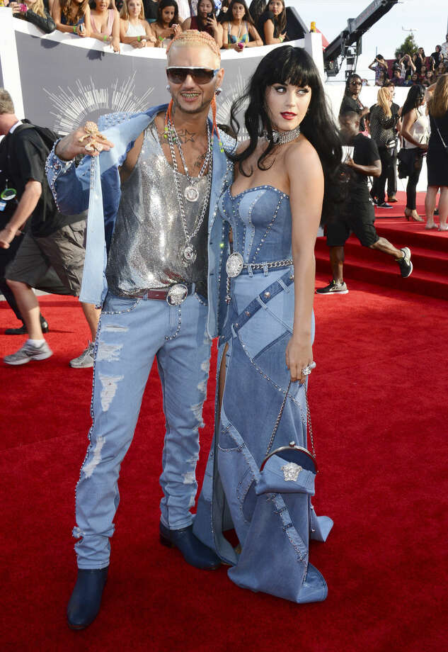 Riff Raff, left, and Katy Perry arrive at the MTV Video Music Awards at The Forum on Sunday, Aug. 24, 2014, in Inglewood, Calif. (Photo by Jordan Strauss/Invision/AP)