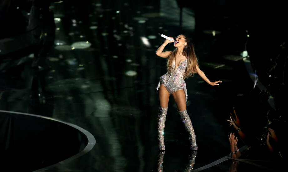 Ariana Grande performs at the MTV Video Music Awards at The Forum on Sunday, Aug. 24, 2014, in Inglewood, Calif. (Photo by Matt Sayles/Invision/AP)